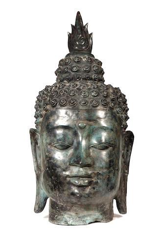 A large Thai bronze head of a Buddha