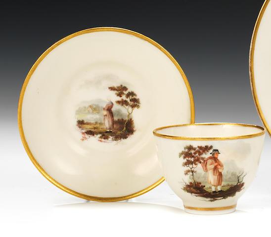 A rare Swansea teacup and saucer