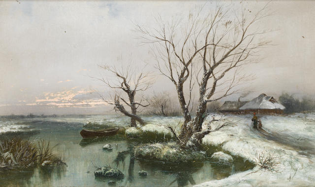 Klever the younger, snowscape, client says Klever the Younger, but why? The snowy banks of the river