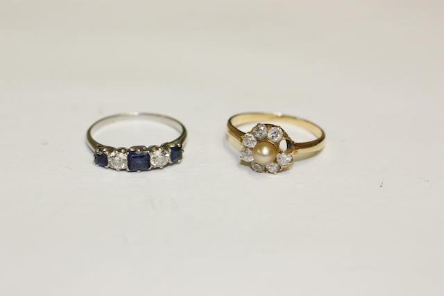 A five stone sapphire and diamond ring and a pearl and diamond cluster ring  (2)