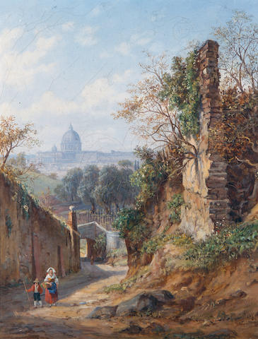 Arthur John Strutt (British, 1819-1888) Distant view of Rome; A backstreet in Rome each 39 x 31cm (15 3/8 x 12 3/16in). (2)