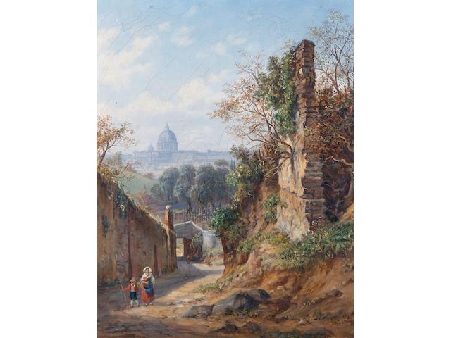 Arthur John Strutt (British, 1819-1888) Distant view of Rome; A backstreet in Rome each 39 x 31cm (15 3/8 x 12 3/16in). (2)