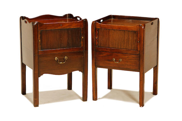 A matched pair of George III and later mahogany bedside commodes