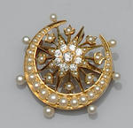 A Victorian gold mounted half pearl necklace and diamond and half pearl brooch (2)
