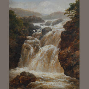 Edmund Gill (British, 1820-1894) A waterfall in spate