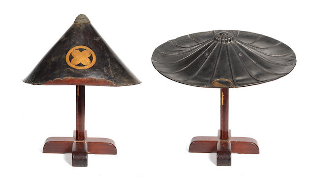 Two black-lacquered jingasa 18th century