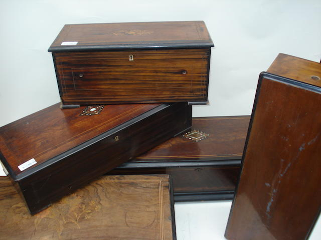 Large cylinder musical box cases: various makers and layouts -