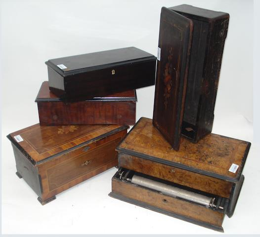 Various cylinder musical box cases: