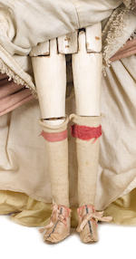 Marianna an important George II English wooden doll in original court mantua , 1747
