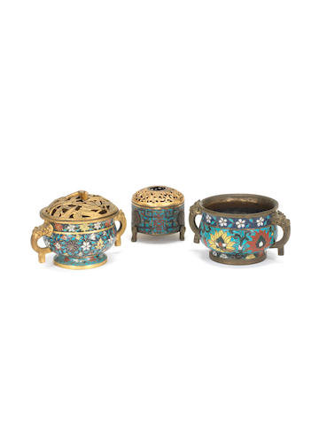 Three cloisonné enamel incense burners and two covers 16th/17th century