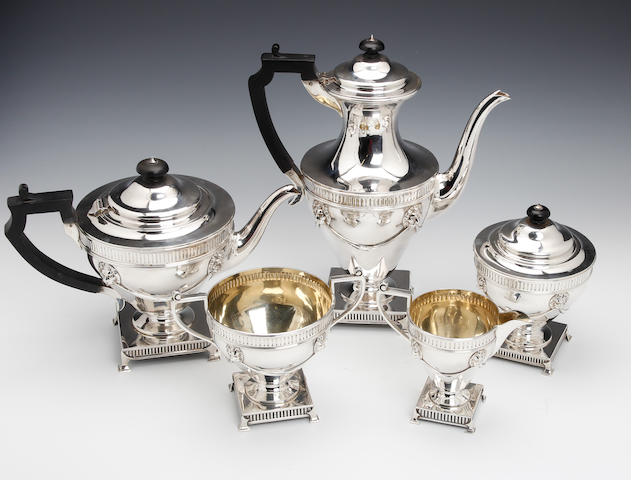 An Edwardian 5 piece vase shape tea & coffee service by Martin & Hall and others, London 1909