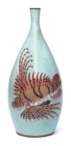 A cloisonné large enamel vase Meiji Period