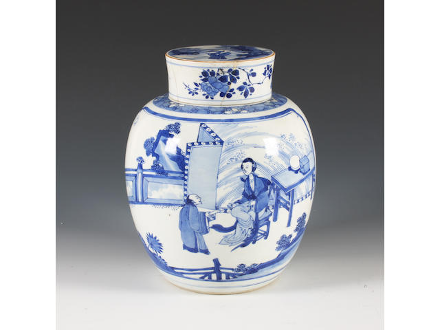 A Chinese blue and white vase and cover, 18th century