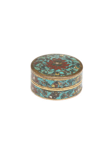 A rare small cloisonné enamel circular box and cover Incised Jingtai six-character mark in a vertical line and of the period