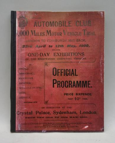 A 1,000 Miles Motor Vehicle Trial official programme, 1900,