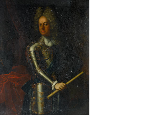 Follower of Sir Godfrey Kneller (Lübeck 1646-1723 London) Portrait of a gentleman, traditionally identified as James Butler, 2nd Duke of Ormond (1665-1745), three-quarter-length, holding a marshall's baton, in a suit of armour with the sash and badge of the Order of the Garter