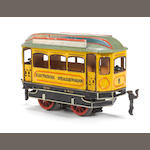 Rare Marklin Gauge I 3170 4 volt Strassenbahn tram, circa 1905 See: The Golden Years of Tin Toy Trains 1850-1909, by Paul Klein Schiphorst, pg.117 ill.338 for similar piece.