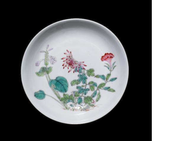 A famille rose saucer dish Guangxu six-character mark