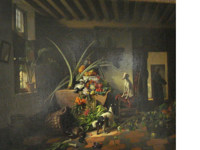 David Emile Joseph de Noter (Belgian, 1825-1892) Interior with still life