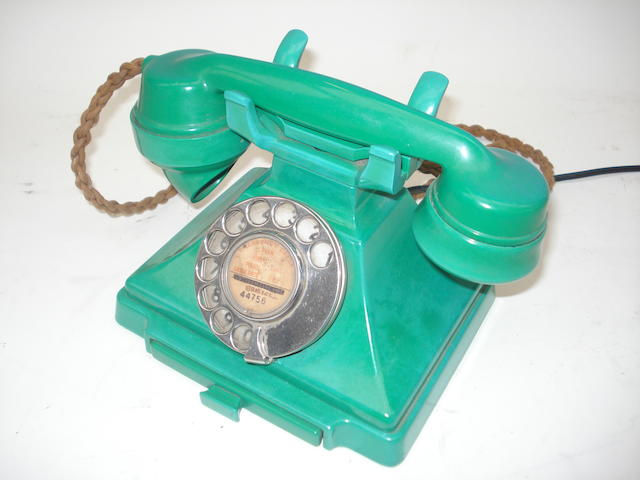 A pre-war 200-series green bakelite telephone,