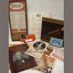 A good selection of gramophone and wireless shop advertising material: