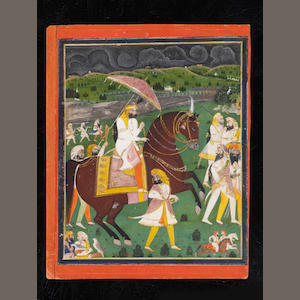 Maharajah Sher Singh (1807-1843) riding out to visit an ascetic, accompanied by a retinue of guards, falconers and other attendants Punjab Plains, circa 1840