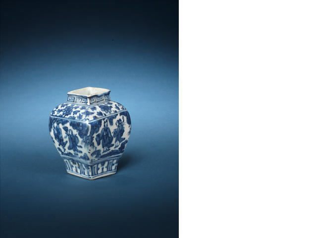 A small blue and white square baluster vase Jiajing six-character mark and of the period