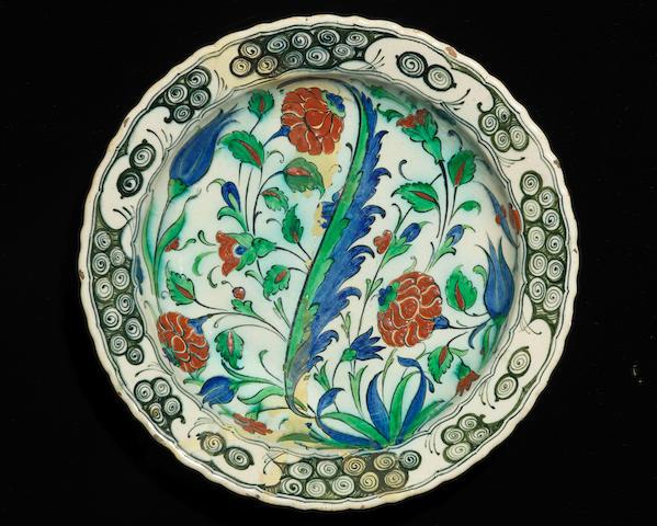 A large Cantagalli Iznik style pottery Dish Italy, 19th Century