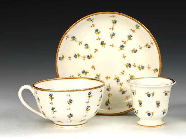 A Nantgarw eggcup and a teacup and saucer, circa 1818-20