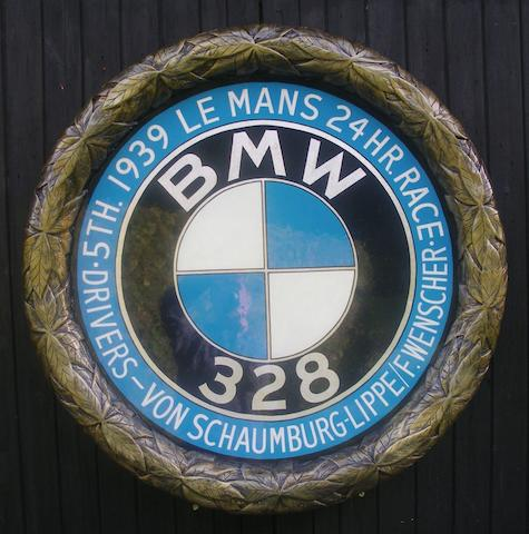 A 'BMW 328 at Le Mans' commemorative roundel,