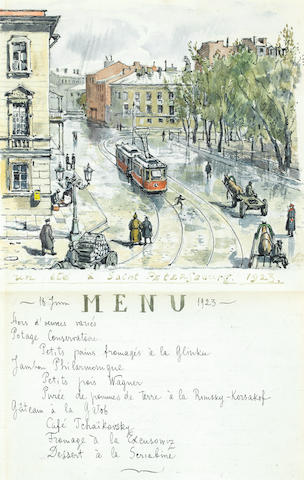 Nikolai Alexandrovich Benois (Russian, 1901-1988) A decorative menu, 18 June, 1923
