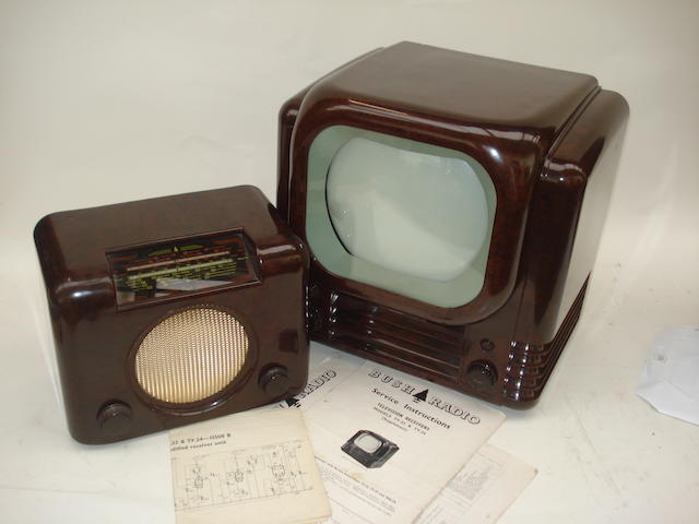 A Bush type TV22 television and DAC90A wireless receiver, circa 1950,