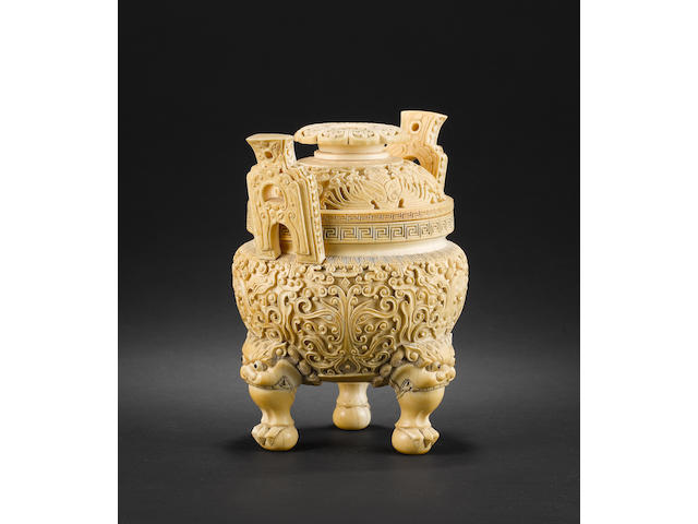 Chinese carved ivory koro and cover and hardwood stand, Qianlong mark, early 20th century