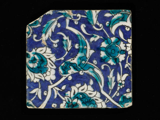 A Damascus underglaze-painted pottery Tile Syria, 17th Century