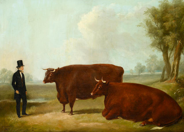 William Henry Davis (British, died 1865) A landowner and two cows in a field