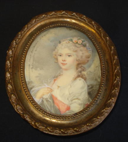A portriat miniature of a woman