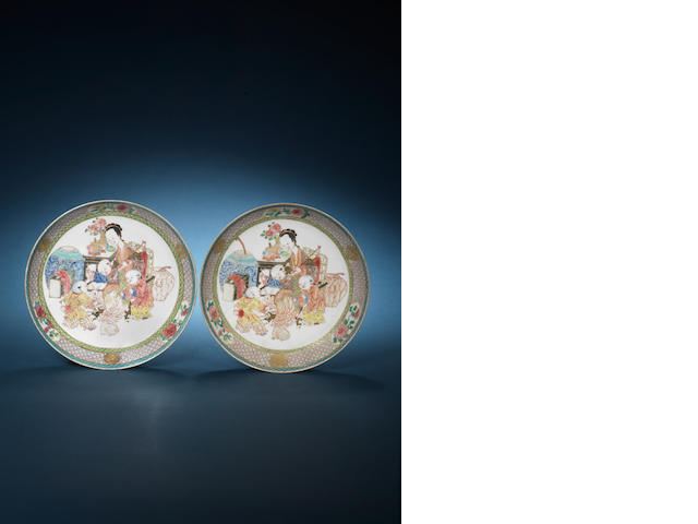 A pair of famille rose eggshell saucer dishes Yongzheng