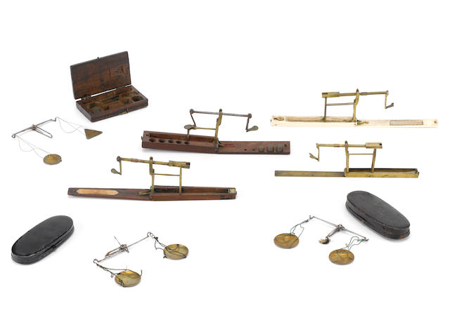 A collection of five coin scales,  late 18th and early 19th centuries,  (5)