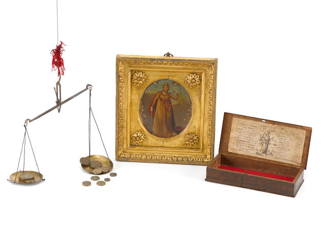 A Thomas Croome set of coin scales and weights, English, circa 1790, (2)