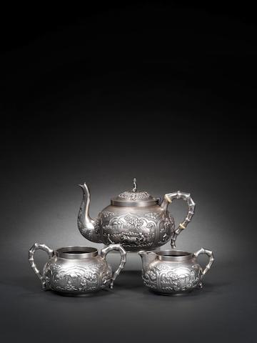 A three-piece silver Tea Set by Monohur Dutt, Calcutta, circa 1900(3)