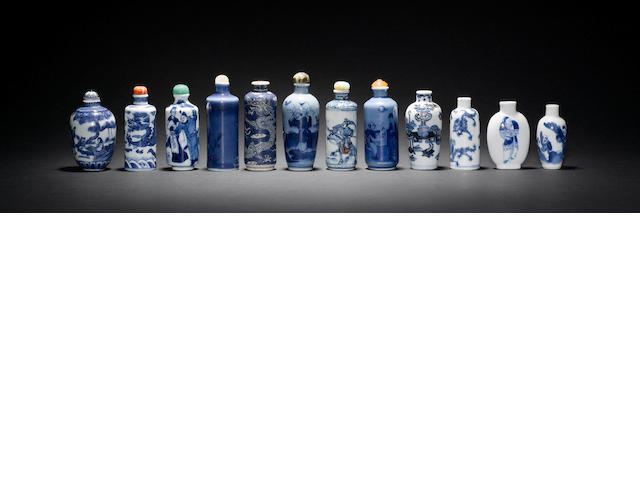 Twelve Chinese, porcelain snuff bottles