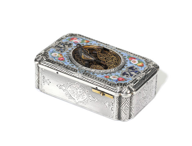A silver-gilt and enamel singing bird box, by Jacques Bruguier, circa 1830, for restoration,