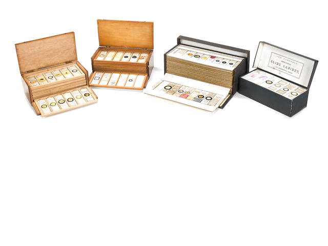 A collection of microscope specimen slides,  late 19th century,  (4)