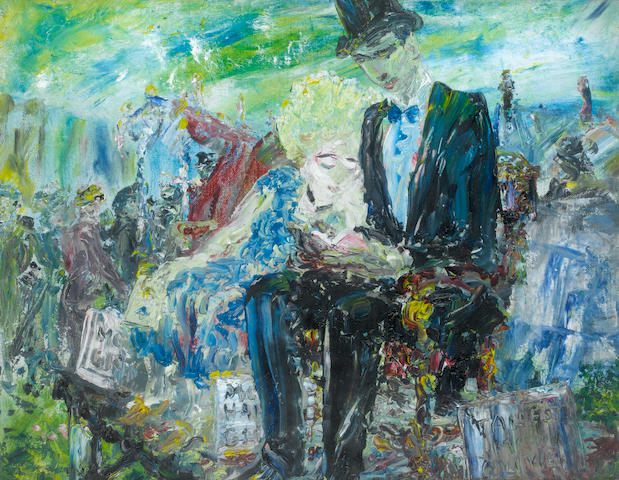 Jack Butler Yeats (Irish, 1871-1957) A Giant Reading 35.5 x 45.8 cm. (14 x 18 in.)