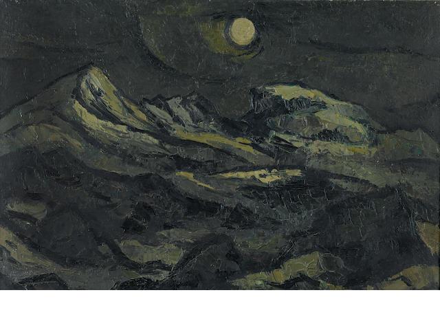 Sir Kyffin Williams R.A. (British, 1918-2006) Landscape with moon 61 x 91.5 cm. (24 x 36 in.)