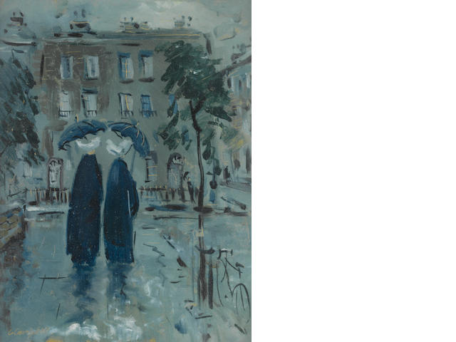 George Campbell R.H.A. (Irish, 1917-1979) Figures in the rain 30.7 x 23 cm. (12 x 9 1/4 in.)