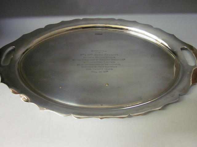 A large oval tea tray, by Walker and Hall, Sheffield 1916,