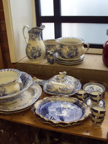 A mixed collection of blue and white ceramics
