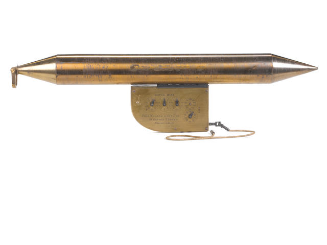 A rare Edward Massey floating log and current meter, 26in.(66cm)long.