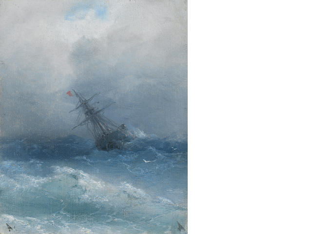 Ivan Konstantinovich Aivazovsky (Russian, 1817-1900) In the midst of the waves